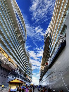 Cruise Ships Allure of the Seas and her cousin Celebrity Reflection in Cozumel Mexico