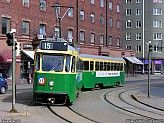 Helsinki: A tramway train consisting of tram 14 and trailer 505 approaching Hakaniemi Square. The vehicles no longer in regular traffic were chartered by the Finnish Tramway Society. Light Rail, Helsinki, Cars And Motorcycles, Finland, Sky, Places, Aircraft, Travel, Model