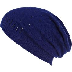 River Island Blue Scattered Diamante Beanie Hat ($21) ❤ liked on Polyvore