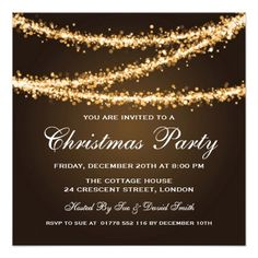 Elegant Winter Party Invitation template with Gold String Lights and sparkles. Great for Corporate Holiday Party / Company Holiday Party / Formal Christmas Party / Christmas Dinner Party and more. Impress your friends with this sophisticated and elegant invitation design. Fully customizable!