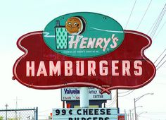 Henry's Hamburgers Vintage Neon Sign - Benton Harbor, Michigan - 5/12/09 by randomroadside, via Flickr