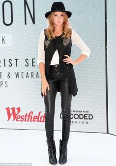 Millie Mackintosh at Future Fashion: 24 Hour Hack. Chelsea Girls, Made In Chelsea, Westfield Shopping, Millie Mackintosh, One Clothing, Leather Trousers, West London, Future Fashion, Long Legs