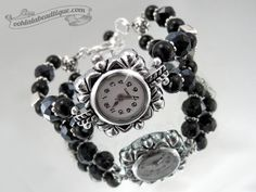 Black crystal watch black wrist watch bracelet by OohlalaBeadtique