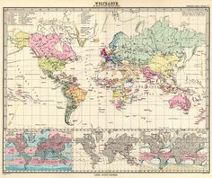 Wolrd Mercators projection, Stielers Handatlas 1891