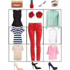red trousers, 6 ways...