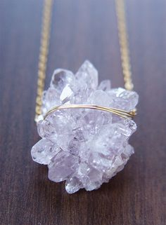 Natural & Bold:      Featuring a beautiful large natural lavender amethyst crystal mineral gemstone which was hand framed into a 14k gold filled