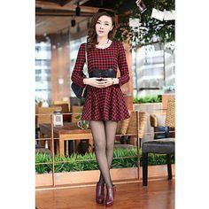 QIQI Sweet Waist Check Pattern Long Sleeve Dress – BRL R$ 59,97