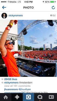 """Nicky Romero wearing the 2014 World Cup Netherlands Home jersey with name """"ROMERO"""" and #7. Get your jersey at edmgears.com"""