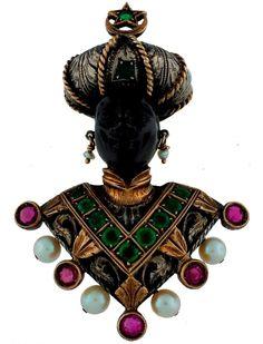Highly Collectible NARDI PEARL RUBY EMERALD EBONY & GOLD BLACKAMOOR PIN BROOCH #Nardi