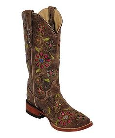 Chocolate & Fuchsia Blossom Leather Cowboy Boot - Women