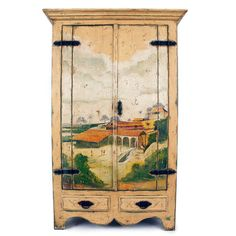 Vintage Country Landscape Armoire (17,200 CAD) ❤ liked on Polyvore featuring home, furniture, storage & shelves, armoires, dresser, antique white armoire, hardware furniture, antique white furniture, ivory furniture y motif furniture
