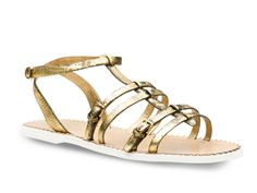 Car Shoe women flat sandals in gold antiqued leather - Italian Boutique €127