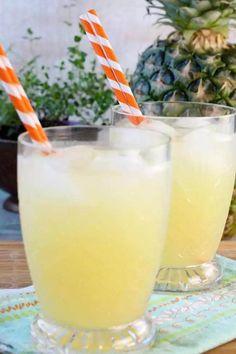 Pineapple Lemonade {3 Ingredient Punch} - Miss in the Kitchen Pineapple Lemonade, Pineapple Punch, Pineapple Drinks, Smoothies, Smoothie Drinks, Diet Drinks, Healthy Drinks, Party Drinks, Fun Drinks