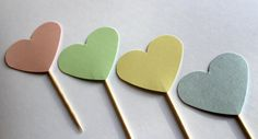 Pastel Heart Cupcake Toppers by welldressedcupcakes on Etsy, $4.50