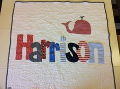 Personalized name quilt for baby, appliqued quilt for children-- if its a boy... i love how this one looks!