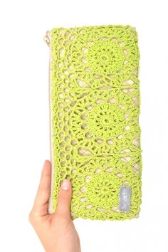 Green Electric Crochet Clutch by Ethical Ocean