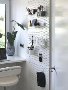 This wall mounted storage option is ch… IKEA Skadis Pegboard Ideas & Inspiration. This wall mounted storage option is ch… , Decor, Ikea Pegboard, Wall Storage, Bathroom Furniture, Bathroom Design, Ikea, Diy Bathroom, Home Decor, Apartment Decor