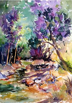 Contemporary Artists of Texas Rae Andrews Watercolor Trees, Watercolor Landscape, Watercolor And Ink, Watercolour Painting, Landscape Art, Landscape Paintings, Landscapes, Watercolors, Sculpture