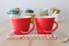 Red big mug Coffee cup Ceramic teacup Breakfast mug by BiscuitCuit My favorite mugs :)