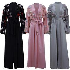 "bestsellers shop - Buy ""Abaya Dubai Kaftan Arabic Muslim Dress Women Cardigan Hijabs Ramadan Eid Embroidery Floral Long Sleeve Arab Islamic Clothing"" for only USD. Abaya Fashion, Muslim Fashion, Modest Fashion, Fashion Dresses, Women's Fashion, Abaya Dubai, Muslim Dress, Hijab Dress, Muslim Hijab"