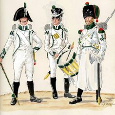 line Infantry Regiment For the Rhine (2nd Battalion)-Lippe of the quota. From left to right: tamburmajor, drummer Fusiliers, Minesweeper (1809-12). Fig. H. Boisselier.