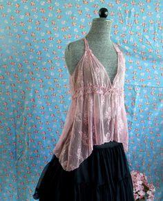 Vintage Pink Lace Top Drop Hem Handkerchief by SweetRepeatVintage, $12.95