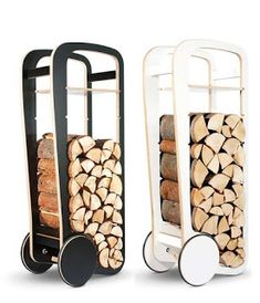 Fleimio Wood Trolley - A contemporary home is instantly rendered cozy with the incorporation of a real timber-burning fireplace. However, the Fleimio Wood Trolley can kee. Firewood Rack, Firewood Storage, Log Holder, Yanko Design, Wood Design, Inventions, Wood Projects, Sweet Home, Woodworking