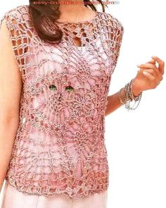 Stylish Easy Crochet: Crochet Lace Vest - Pineapple Lace - chart only = 2 large squares sewn together
