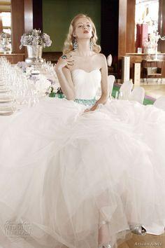 Retro Glam- LOVE the turquoise belt. Atelier Aimée 2012 Red Carpet Brides collection