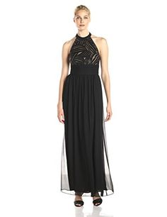 JS Boutique Women's Sequin Novelty Bodice Gown with Chiffon Long Skirt, Black, 12 >>> For more information, visit image link.