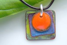 Copper Enamel Pendant  Orange, Blue and Green Square Abstract
