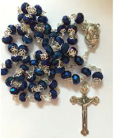Shop, Necklaces, Pendants, Deep Blue Crystal Beads Rosary Catholic Necklace Holy Soil Medal & Crucifix by - Diamond Choker, Diamond Solitaire Necklace, Moon Necklace, Bar Necklace, Rosary Necklace, Blue Crystals, Crystal Beads, Glass Crystal, Rosary Catholic