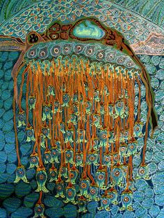 Aboriginal dot painting Jane Parker paints in Noosa a beach town in Australia. Her colourful paintings resemble Aborigional artworks painted in gouache but embellished with beads sequins and gold. Outsider Art, Kunst Der Aborigines, Aboriginal Dot Painting, Art Du Monde, Cult, Art Brut, Guache, Art Textile, Indigenous Art