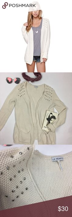 LA Hearts Cream Cardigan with Silver Studding good condition - cream color with pockets and silver studs! La Hearts Sweaters Cardigans