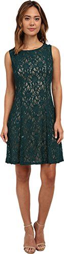 rsvp Womens Radiant Fit and Flare Sequin Lace Dress EmeraldNude Dress 12 >>> Visit the image link more details.