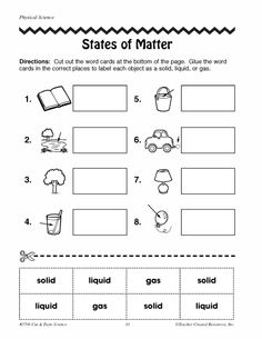 math worksheet : states of matter freebie! students will cut out the pictures sort  : Solid Liquid Gas Worksheet For Kindergarten