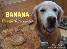 Pizzelle Banana Snowflake Dog Treats - Sugar The Golden Retriever Homemade Dog Cookies, Homemade Dog Food, Dog Treat Recipes, Dog Food Recipes, Pizzelle Maker, Puppy Treats, Diy Stuffed Animals, Pet Dogs, Doggies