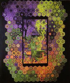 """One block wonder"" using panels! Halloween Quilts, Halloween Fabric, Halloween Projects, Happy Halloween, Diy Projects, Fabric Panel Quilts, One Block Wonder, Millefiori Quilts, Snowman Quilt"