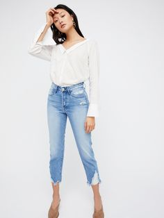 Higher Ground Boyfriend Crop Jeans | In a boyfriend fit, these premium cropped jeans feature a high rise.      * Premium, ridged denim.    * Cropped inseam.    * Distressing detailing on the extended hem.    * Button fly.    * Five-pocket style.