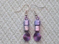 Purple Pink Metallic Spectra Glass Cubes Wire Swirl Artisan Dangle Earrings Jen  #UniquelyHandCraftedbyJen #DropDangle