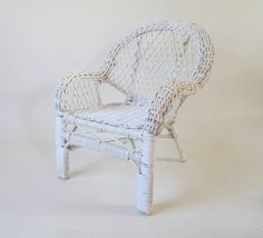 Miniature Wicker Porch Chair Vintage White Mini Doll Display