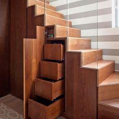 Hidden storrage underneath a staircase