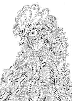 Adult Coloring Pages: Rooster 3 More