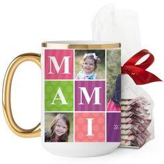 Mami Mug, Gold Handle, with Ghirardelli Peppermint Bark, 15 oz, Purple