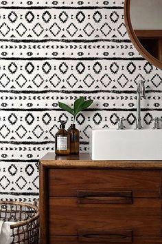 b8ef2e87b159 WALLPAPER   graphic Boho Badezimmer, Schlafzimmer, Tapete Schwarz Weiß,  Wandfarbe Wohnzimmer, Tapeten