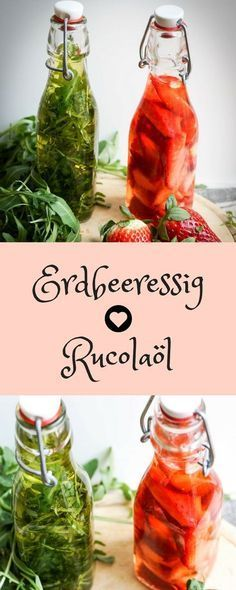 Strawberry vinegar and rocket oil - FoodForFamily- Erdbeeressig und Rucolaoel – FoodForFamily A delicious dressing made from strawberry vinegar and rocket oil! Pesto, Strawberry Vinegar, Food Gifts, Diy Food, Food Inspiration, Love Food, Vegan Recipes, Clean Eating, Food Porn