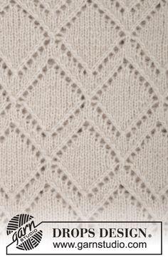 """Gebreide DROPS trui met kantpatroon, wordt van boven naar beneden gebreid van """"Air"""". Maat S-XXXL. ~ DROPS Design"""