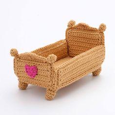 Half Double Crochet, Single Crochet, Crochet For Kids, Crochet Baby, Crochet Furniture, Patterned Furniture, Crochet Doll Dress, Doll Beds, Barbie Furniture