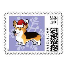Christmas Pembroke Welsh Corgi Postage Stamp