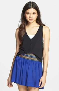 Frenchi® Button Front Lace Back Crop Tank (Juniors) available at #Nordstrom